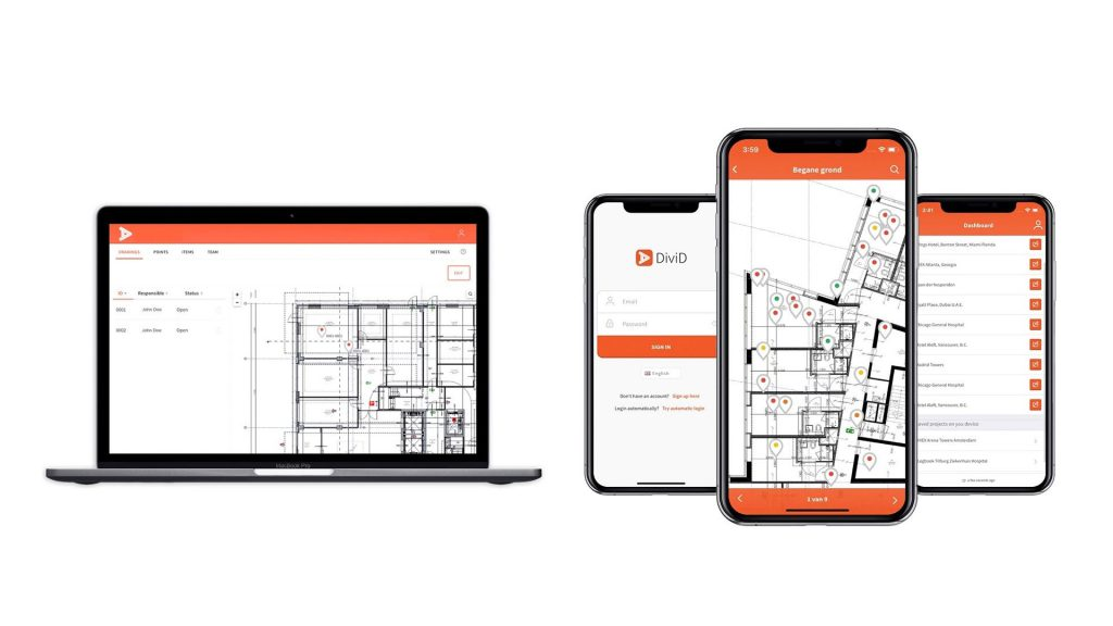 bouw software in de cloud met computer en smartphone